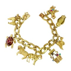 Vintage Animals Charms Link Yellow Gold Bracelet
