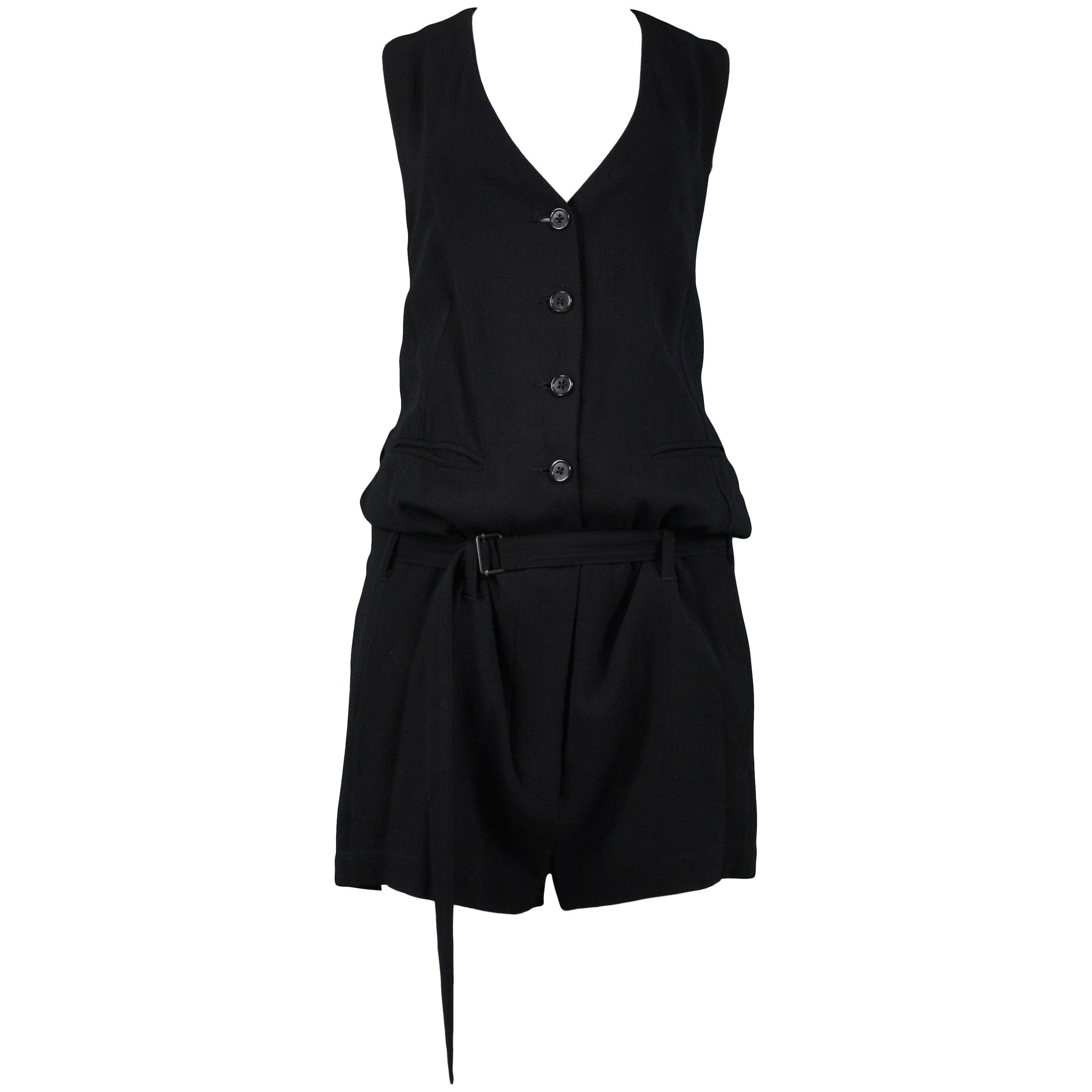 Vintage Ann Demeulemeester Black Wool Romper