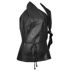 Vintage Ann Demeulemeester Leather Open Back Halter Top