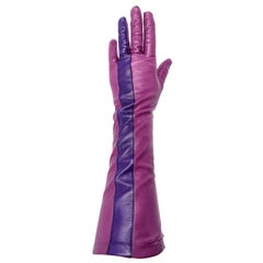 Vintage Anne Klein Two Toned Magenta Pink and Purple Leather Gloves