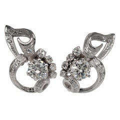 Vintage Antique 18 Karat White Gold Round Cut Diamond Flower Earrings