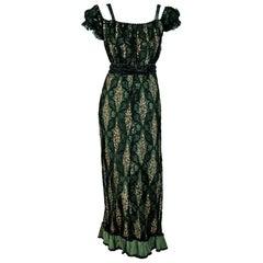 Vintage Antique 1910's Edwardian Sage-Green Beaded Floral Lace Off-Shoulder Gown