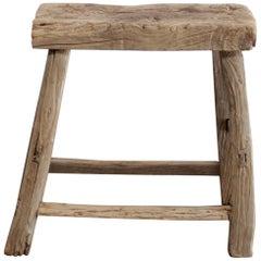 Vintage Antique Aged Elm Wood Stool Table