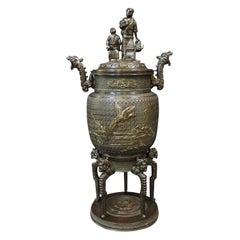 Vintage Antique Chinese Bronze Incense Burner