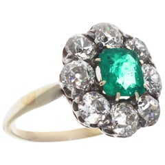 Vintage Antique Colombian Emerald Diamond Ring
