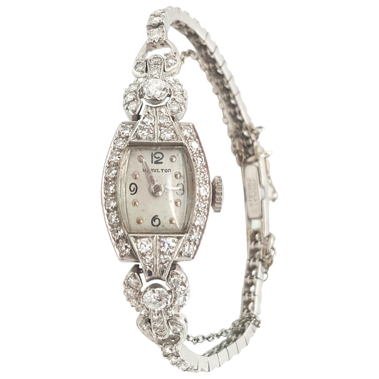 Vintage Antique Diamond Hamilton Platinum Ladies Watch