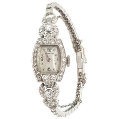 Vintage Antique Diamond Hamilton Platinum Ladies Watch