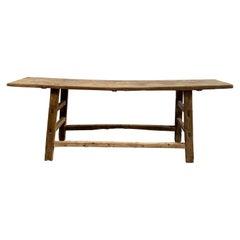Vintage Antique Elm Wood Console Table