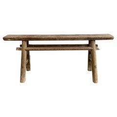 Vintage Antique Elm Wood Skinny Narrow Bench