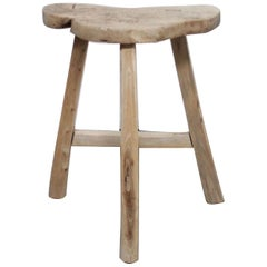 Vintage Antique Elmwood Stool