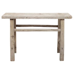 Vintage Antique Elmwood Weathered Console Table