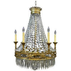 Vintage Antique French Gilt Bronze and Crystal Chandelier