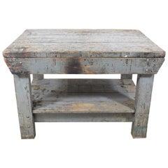 Vintage/Antique Industrial Primitive Workbench Table/Island, circa 1930s