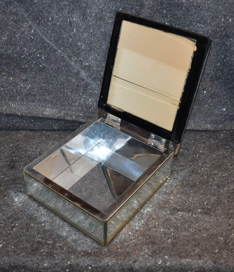 French Vintage Antique Mirrored Jewelry Box For Sale