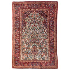 Vintage Antique Persian Red Ivory White Blue Floral Kashan Small Area Rug