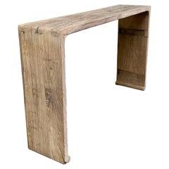 Vintage Antique Reclaimed Elm Wood Console Table