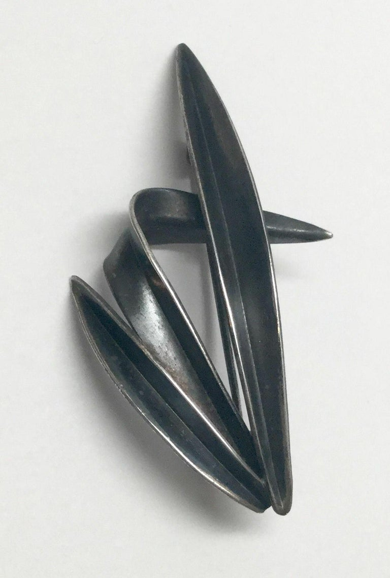 Vintage Denmark 1950's Anton Michelsen grass pin by Gertrude Engel.  Marked: crown over AM in rounded triangle, signed by Engel.  Measures: 2