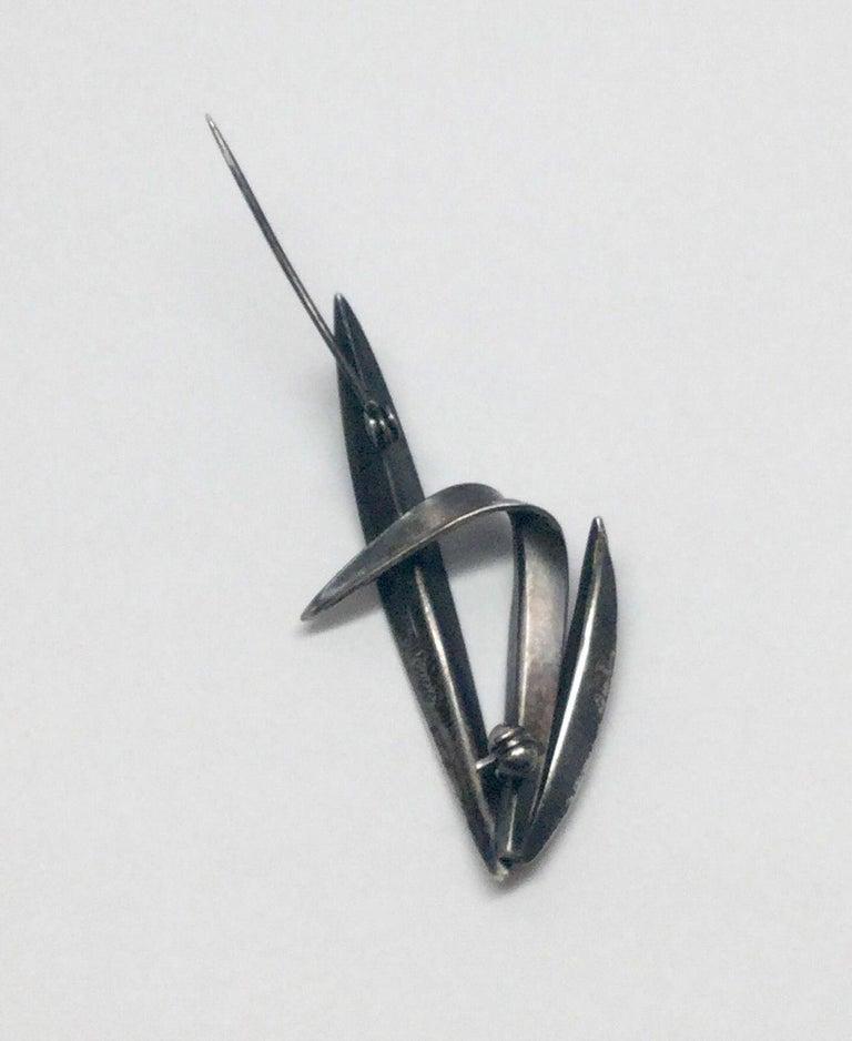 Vintage Anton Michelsen Denmark by Gertrude Engel Sterling Silver Grass Pin For Sale 2