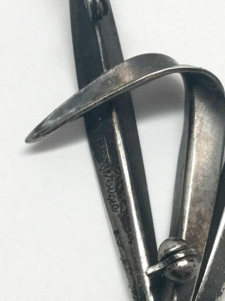 Vintage Anton Michelsen Denmark by Gertrude Engel Sterling Silver Grass Pin For Sale 3