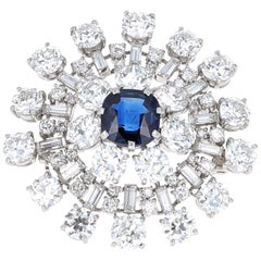 Vintage Approx 9.50 Carat Diamond and Sapphire Brooch Pin