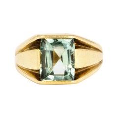 Vintage Aqua and 9 Carat Gold Ring