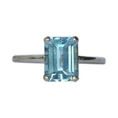 Vintage Aqua and 9 Carat Gold Solitaire Ring