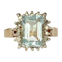 Vintage Aqua and Diamond 10 Carat Gold Cluster Ring