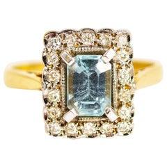 Vintage Aqua and Diamond 18 Carat Gold Cluster Ring