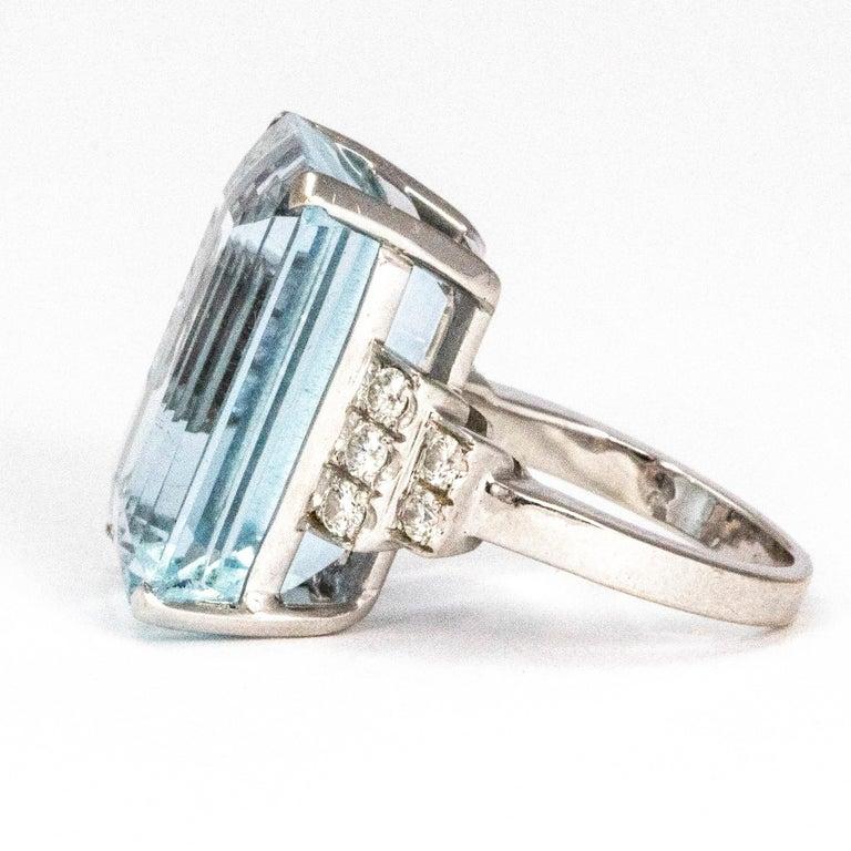 Modern Vintage Aqua and Diamond 18 Carat White Gold Cocktail Ring