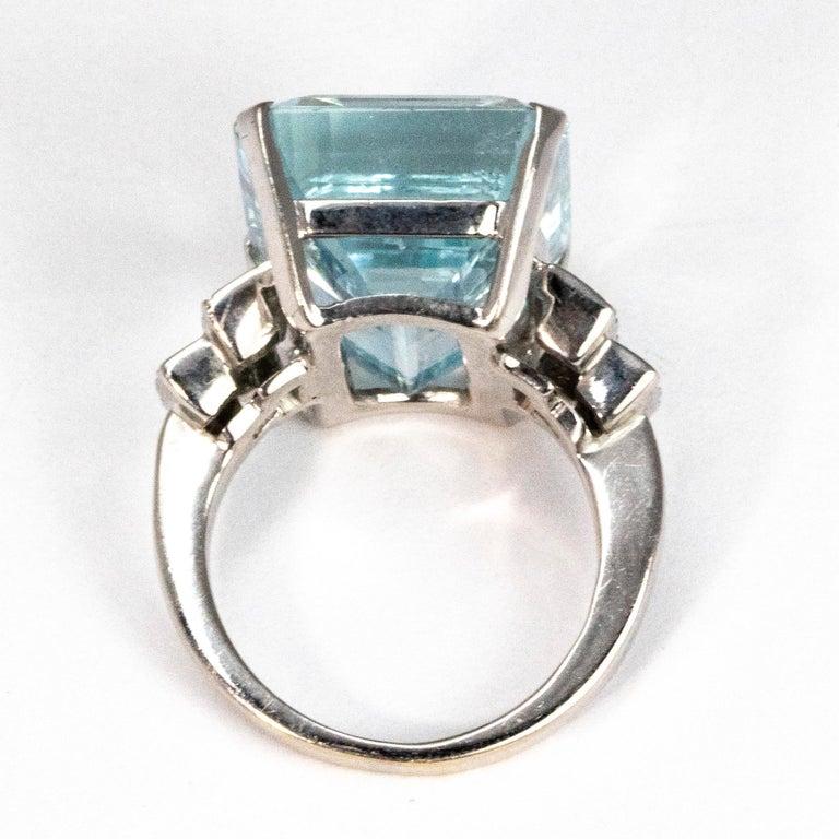 Women's Vintage Aqua and Diamond 18 Carat White Gold Cocktail Ring