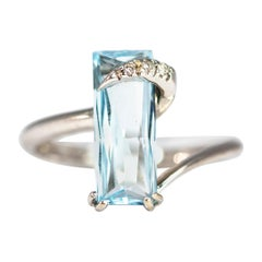 Vintage Aqua and Diamond 18 Carat White Gold Cocktail Ring