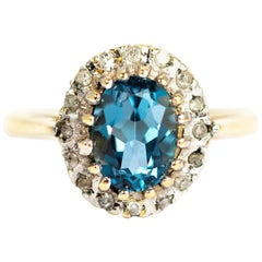 Vintage Aqua and Diamond 9 Carat Gold Cluster Ring