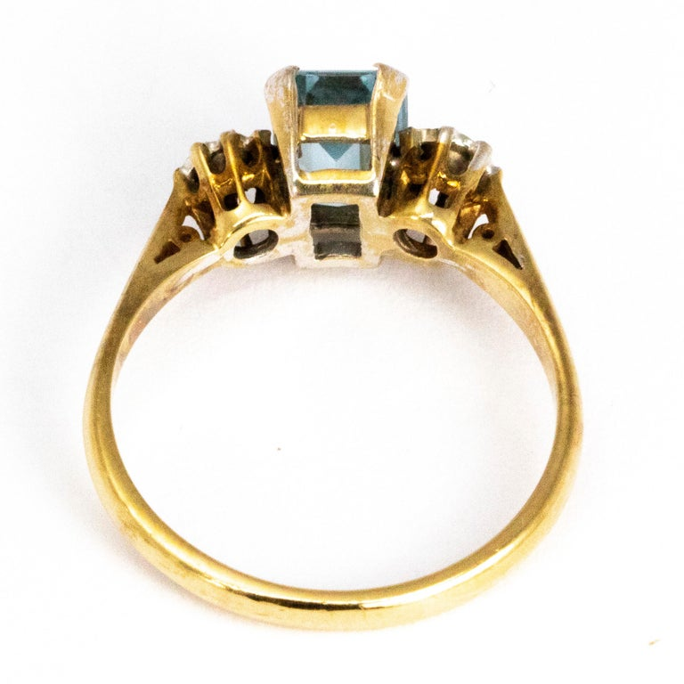 Women's or Men's Vintage Aqua and Diamond 9 Carat Gold  Three-Stone Ring