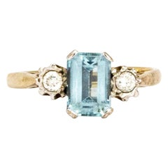 Vintage Aqua and Diamond 9 Carat Gold  Three-Stone Ring