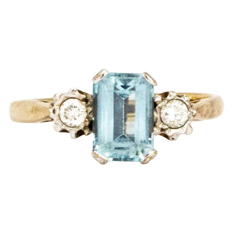 Vintage Aqua and Diamond 9 Carat Gold  Three-Stone Ring