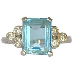 Vintage Aqua and Diamond Platinum Cocktail Ring