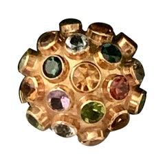 Vintage Aquamarine Amethyst Citrine, Tourmaline 18 Karat Gold Sputnik Dome Ring