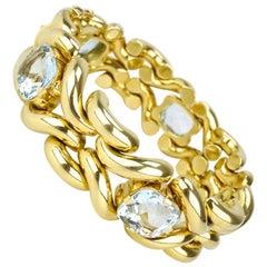 Vintage Aquamarine and 14 Karat Yellow Gold Fancy Link Knot Bracelet, 1960s
