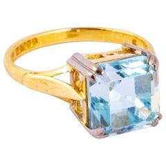 Vintage Aquamarine and 18 Carat Gold Solitaire Ring