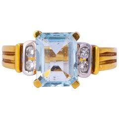 Vintage Aquamarine and Diamond 18 Carat Gold Solitaire Ring