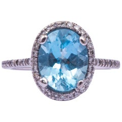 Vintage Aquamarine and Diamond 18 Carat White Gold Cluster Ring