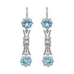 Vintage Aquamarine and Diamond 18 Carat White Gold Drop Earrings