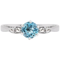 Vintage Aquamarine and Diamond 18 Carat White Gold Ring