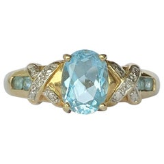 Vintage Aquamarine and Diamond 9 Carat Gold Ring
