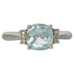 Vintage Aquamarine and Diamond 9 Carat White Gold Solitaire Ring