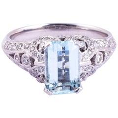 Vintage Aquamarine and Diamond Platinum Solitaire Ring