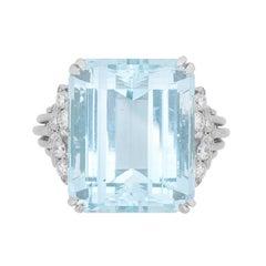 Vintage Aquamarine and Diamond Ring, circa 1940s
