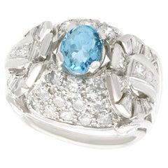 Vintage Aquamarine Cocktail Ring with Diamonds in Palladium