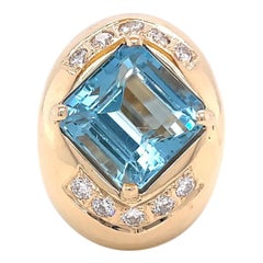 Vintage Aquamarine Diamond 14 Karat Gold Cocktail Ring