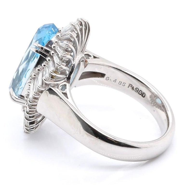 Women's Vintage Aquamarine Diamond Platinum Ballerina Cluster Ring